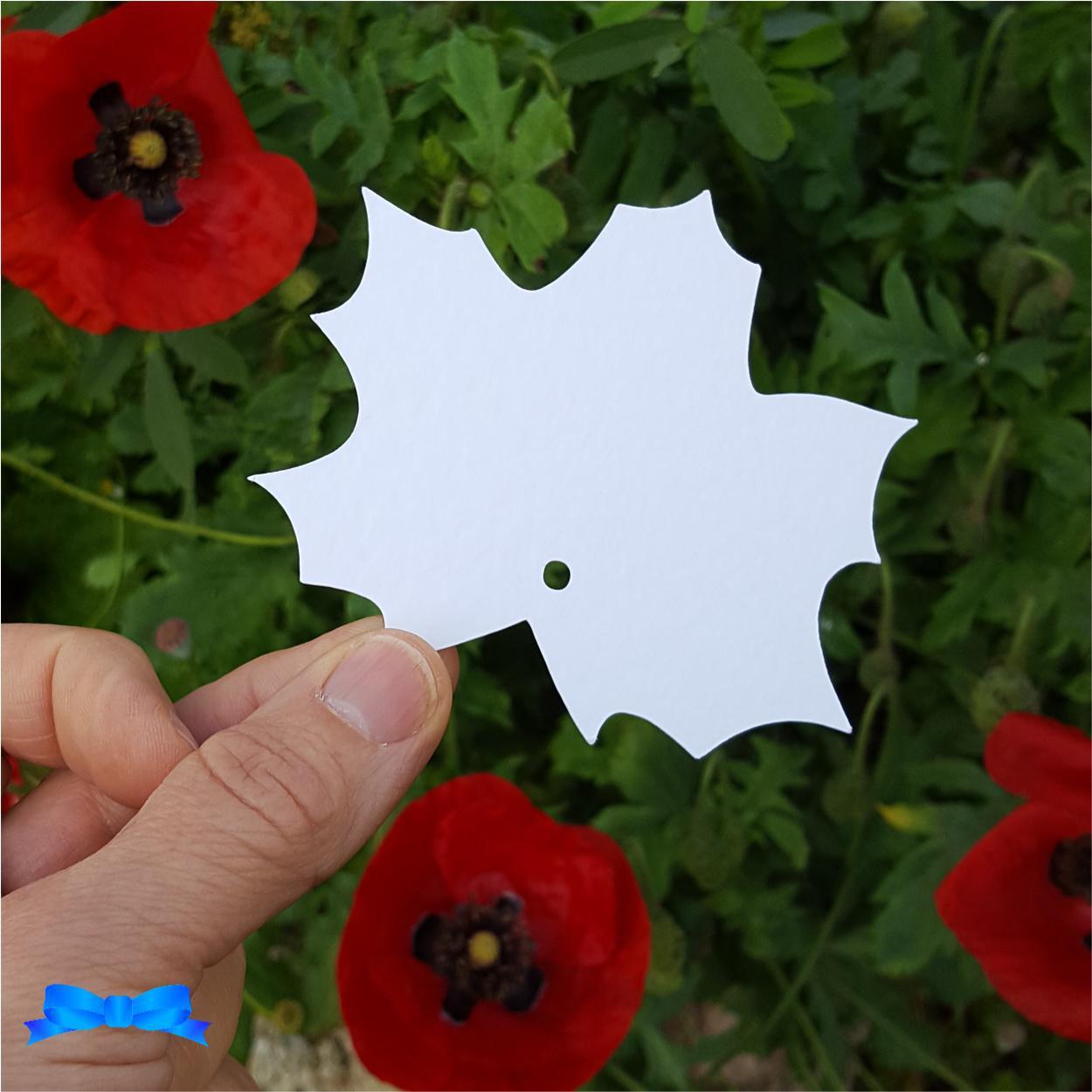 White msple leaf tag