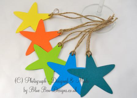 Star shaped tags - matt yellow, orange, kingfisher blue and teal