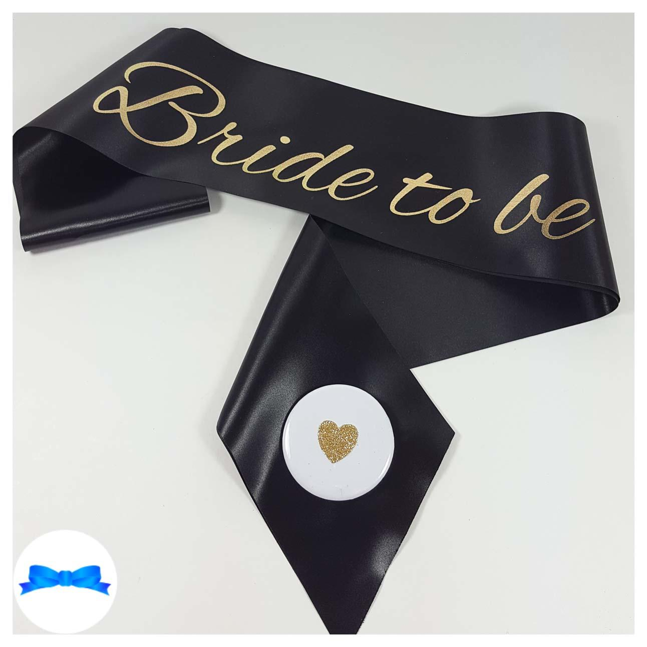 Black bride to be sash gold print