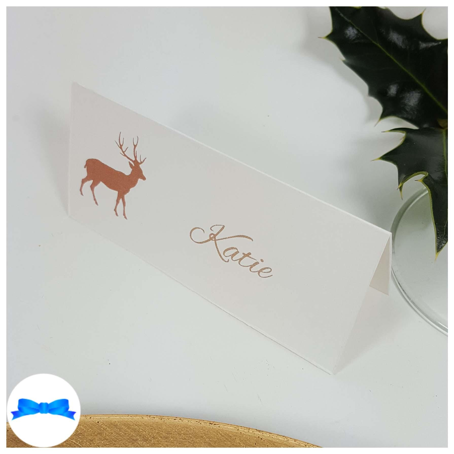 White pearl reindeer place card