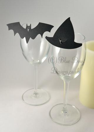 Black Bat and black witch hat place cards for wine glass