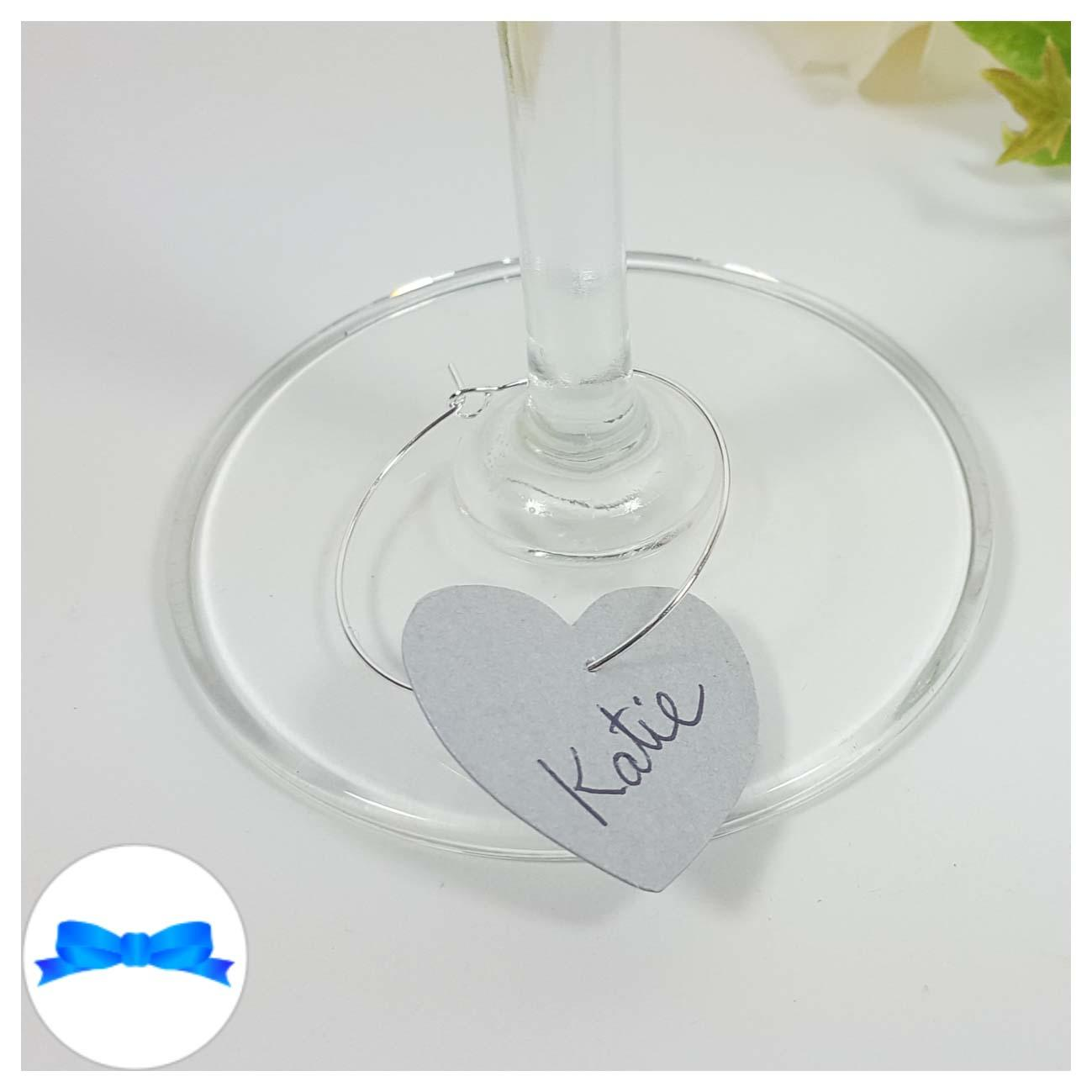 Silver heart shaped wine glass charm