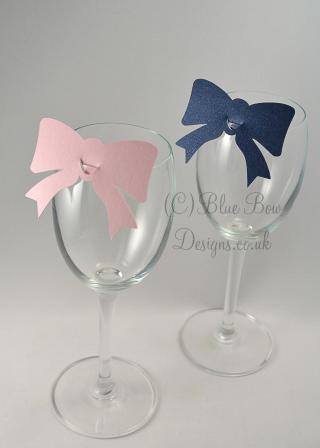 Pink and navy blue bow tie place cards