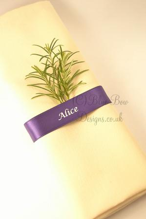 Regal purple and silver napkin guest name ribbon