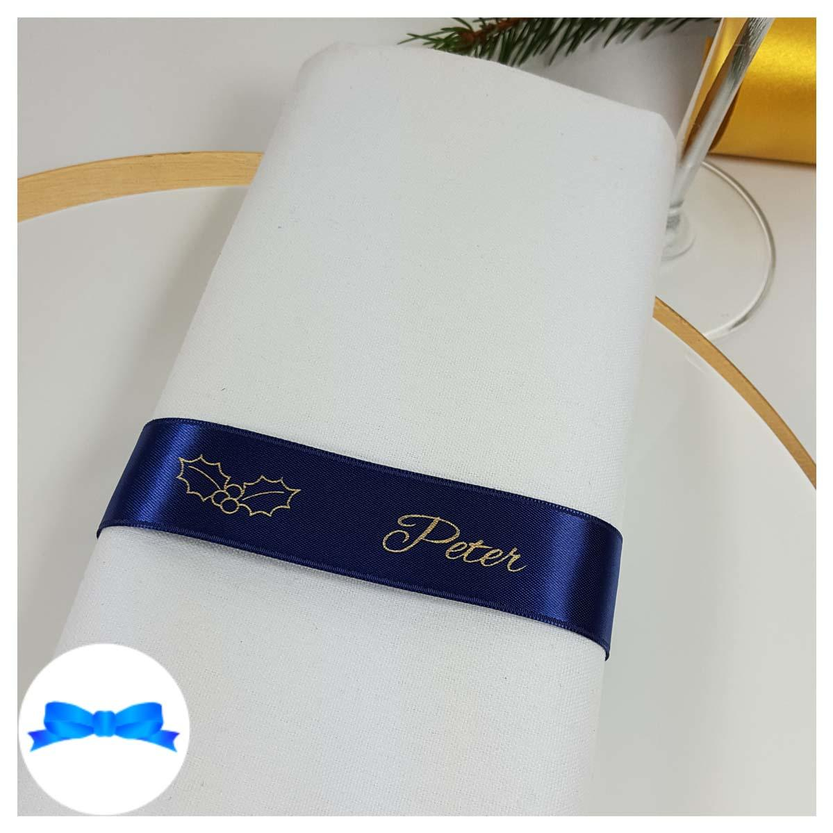 navy blue gold napkin guest name ribbon