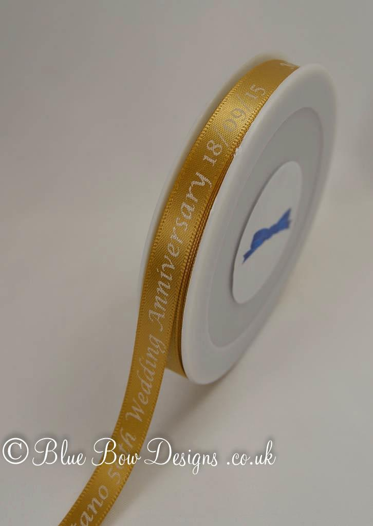 Gold and white printed ribbon