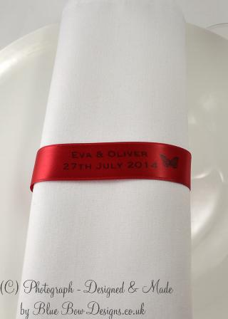 Red and black napkin ribbons with butterfly