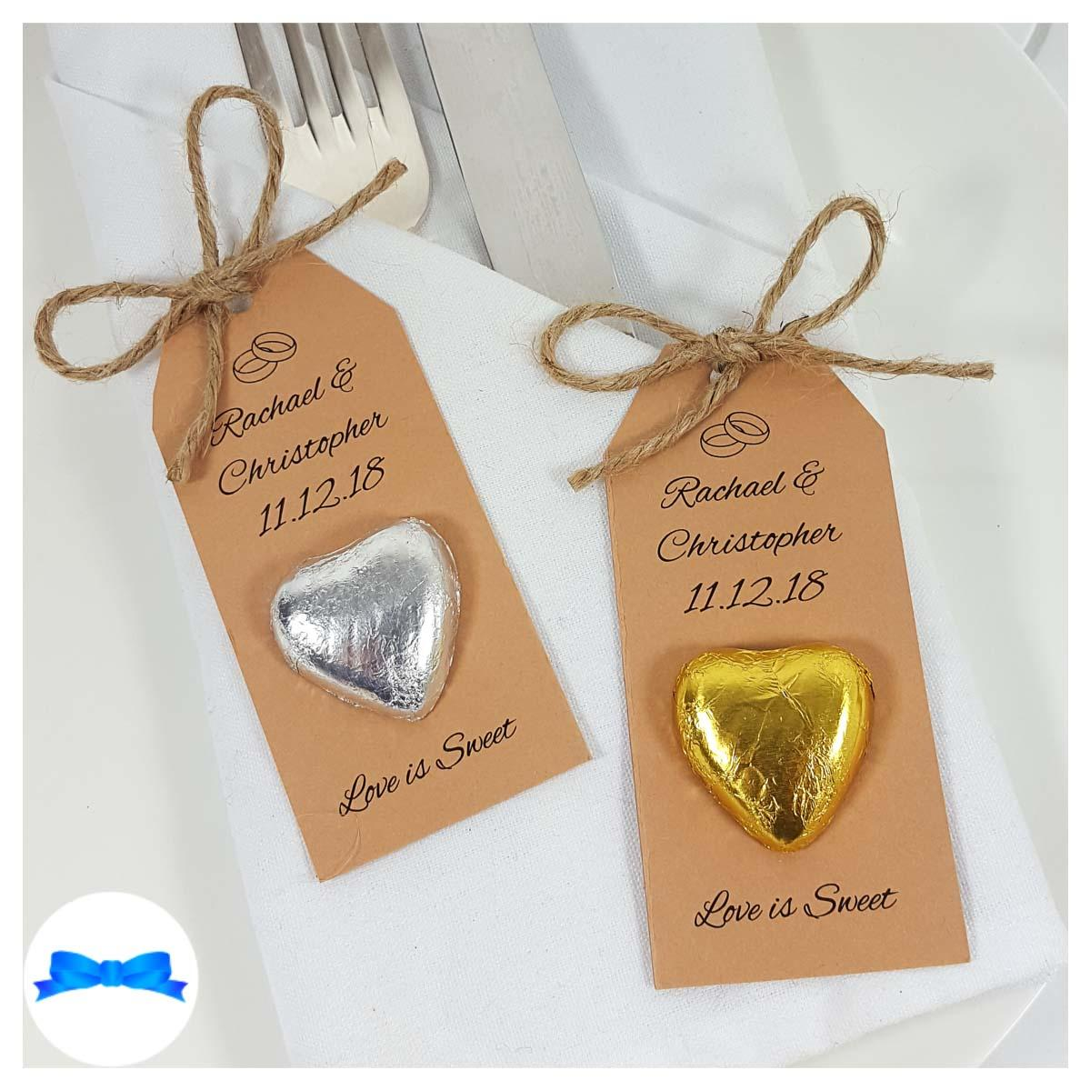 Kraft brown card Silver and  gold hearts Rustic chocolate heart wedding favours