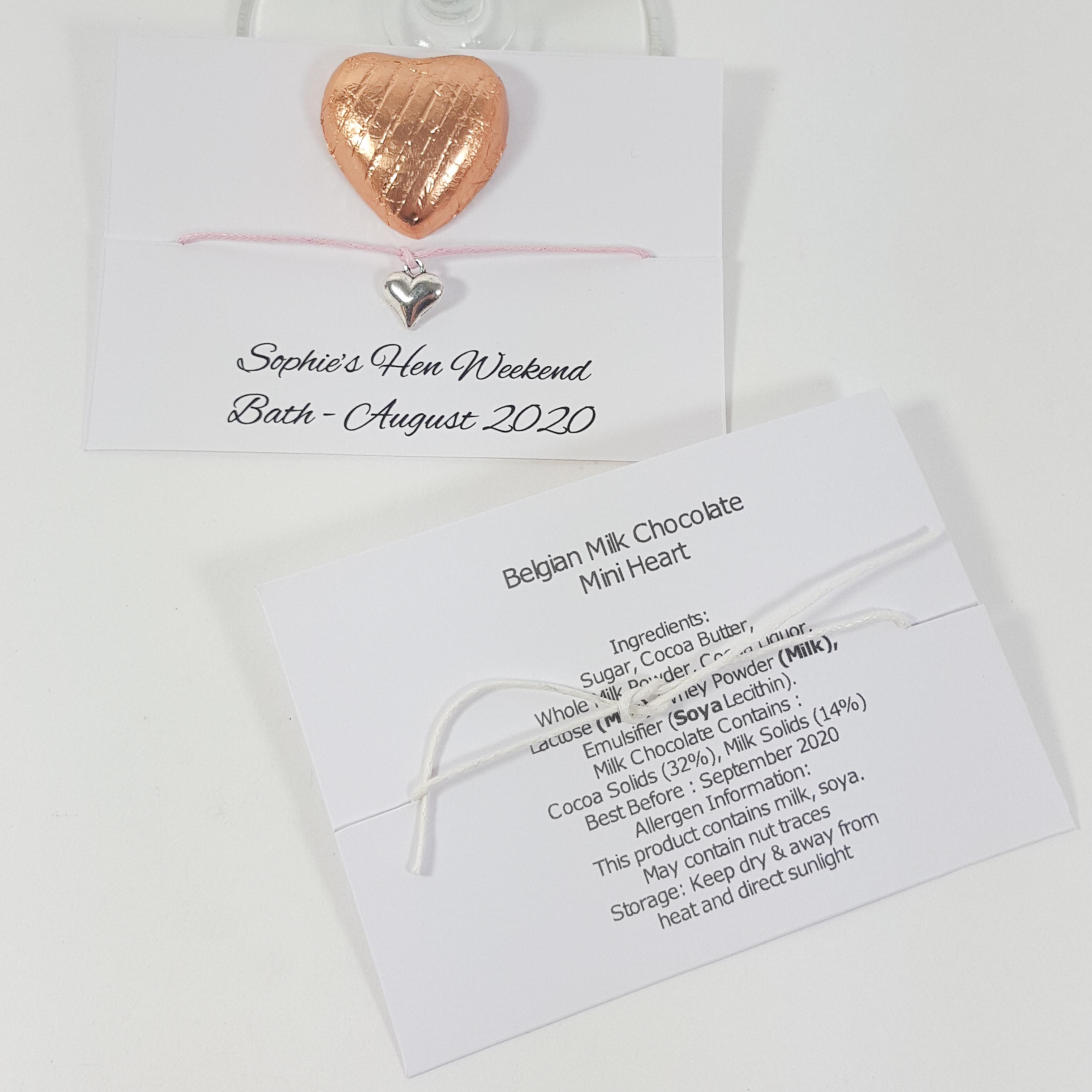 Hen party bracelet and chocolate heart favour