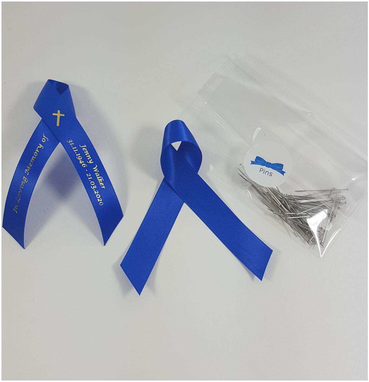 Blue memorial ribbon with cross