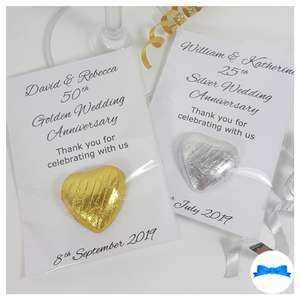 50th Golden and 25th Silver wedding anniversary personalised favours with gold or silver hearts