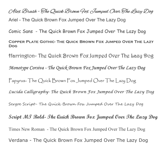 Fonts for ribbons