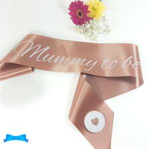 Rose gold mummy to be sash with heart badge with white print