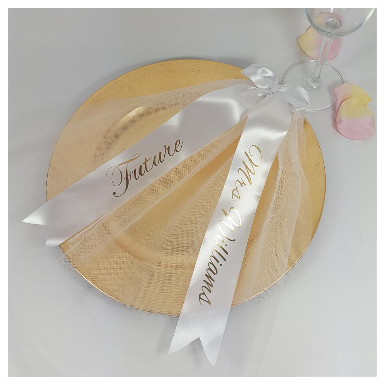 White and gold Future Mrs hen party veil