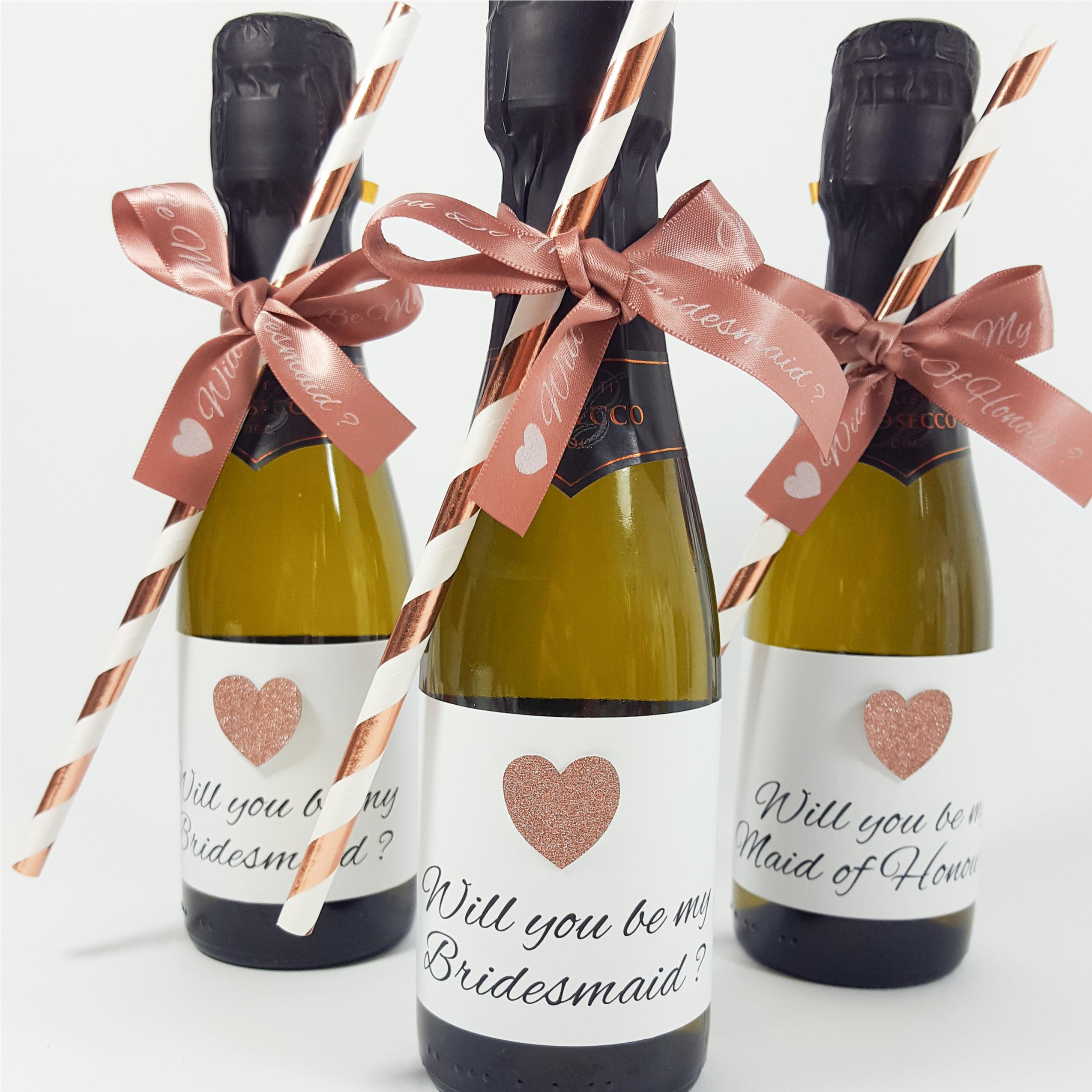 Will you be my bridesmaid maid of honour mini prosecco wine bottle labels and stickers