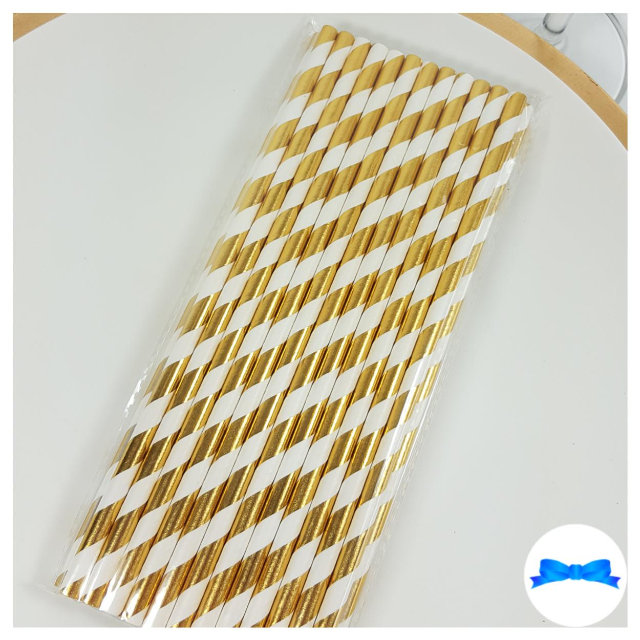 Metallic gold party straws