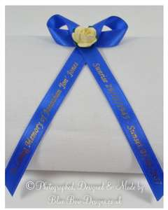 memorial ribbon with paper tea rose
