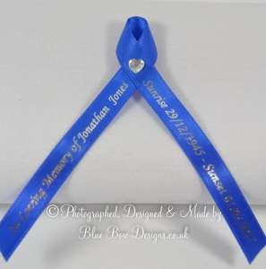 Royal blue memorial ribbon with diamante heart