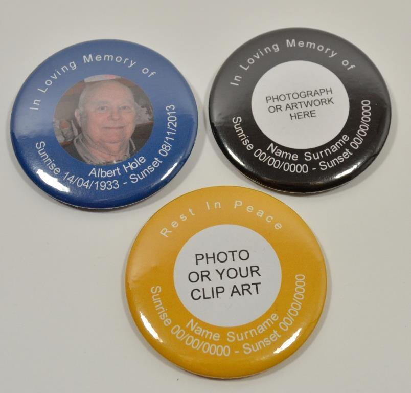 Funeral photograph badges