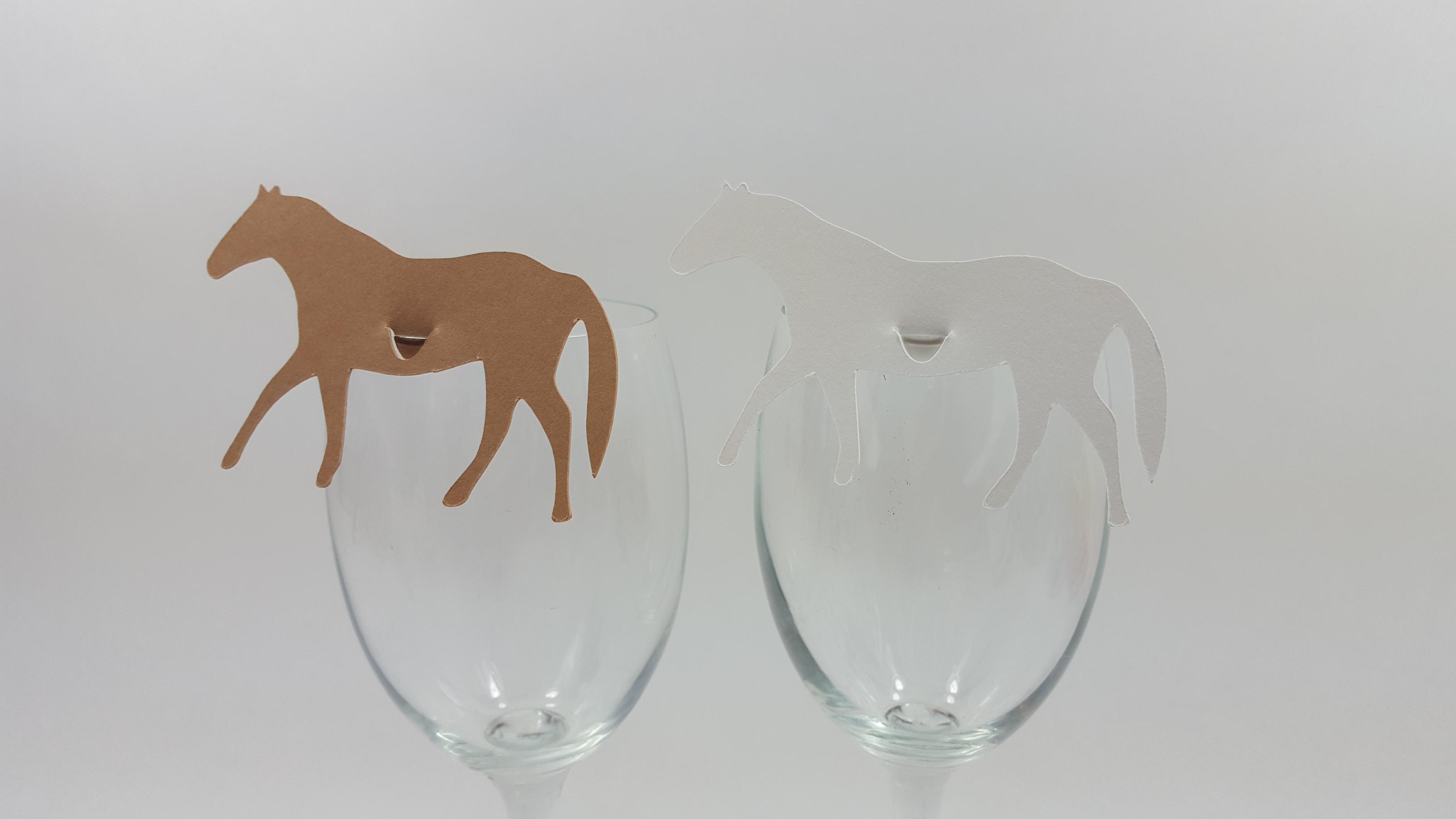 Horse wine glass place cards on wine glasses