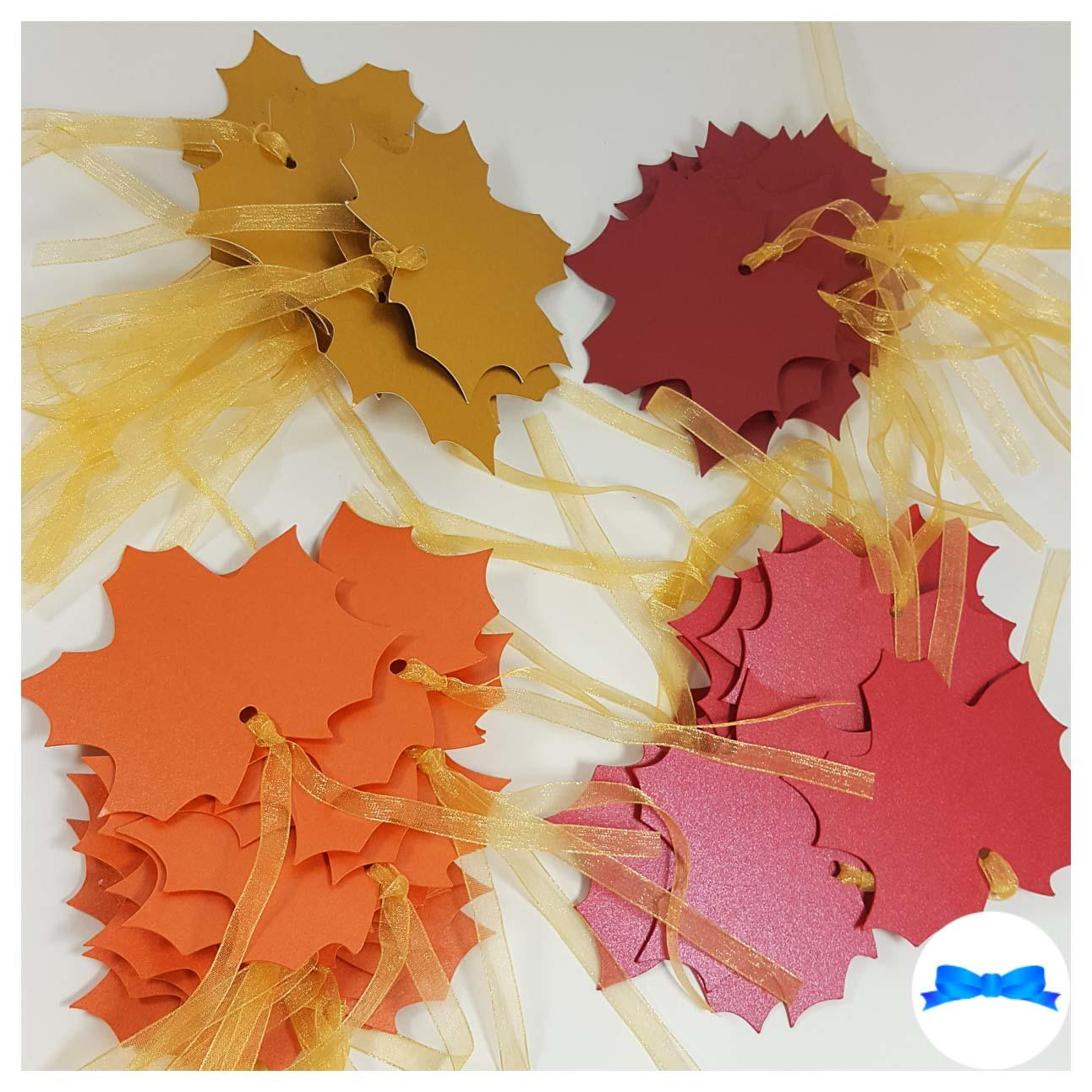 Maple leaf tags gold , burnt orange, burgundy pearl and red pearl