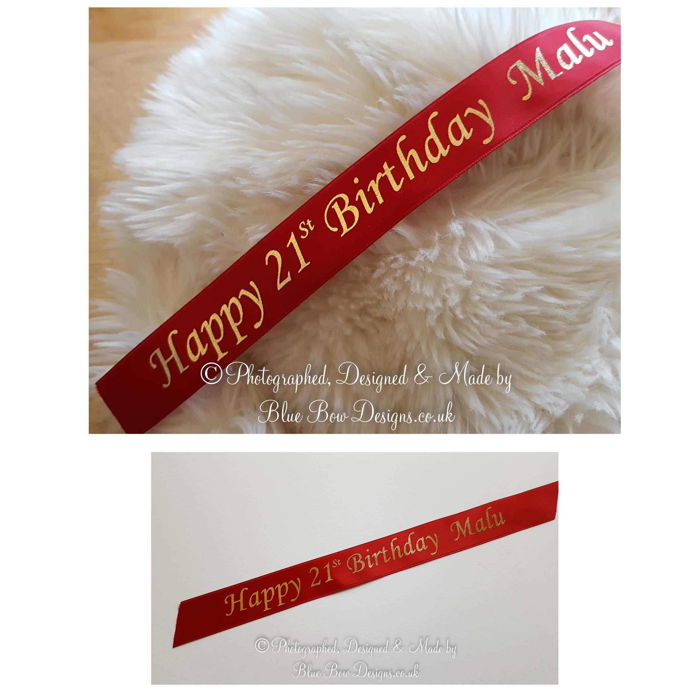 25mm personalised printed ribbon cardinal red ribbon and gold print