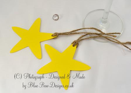 Yellow card star shaped tags