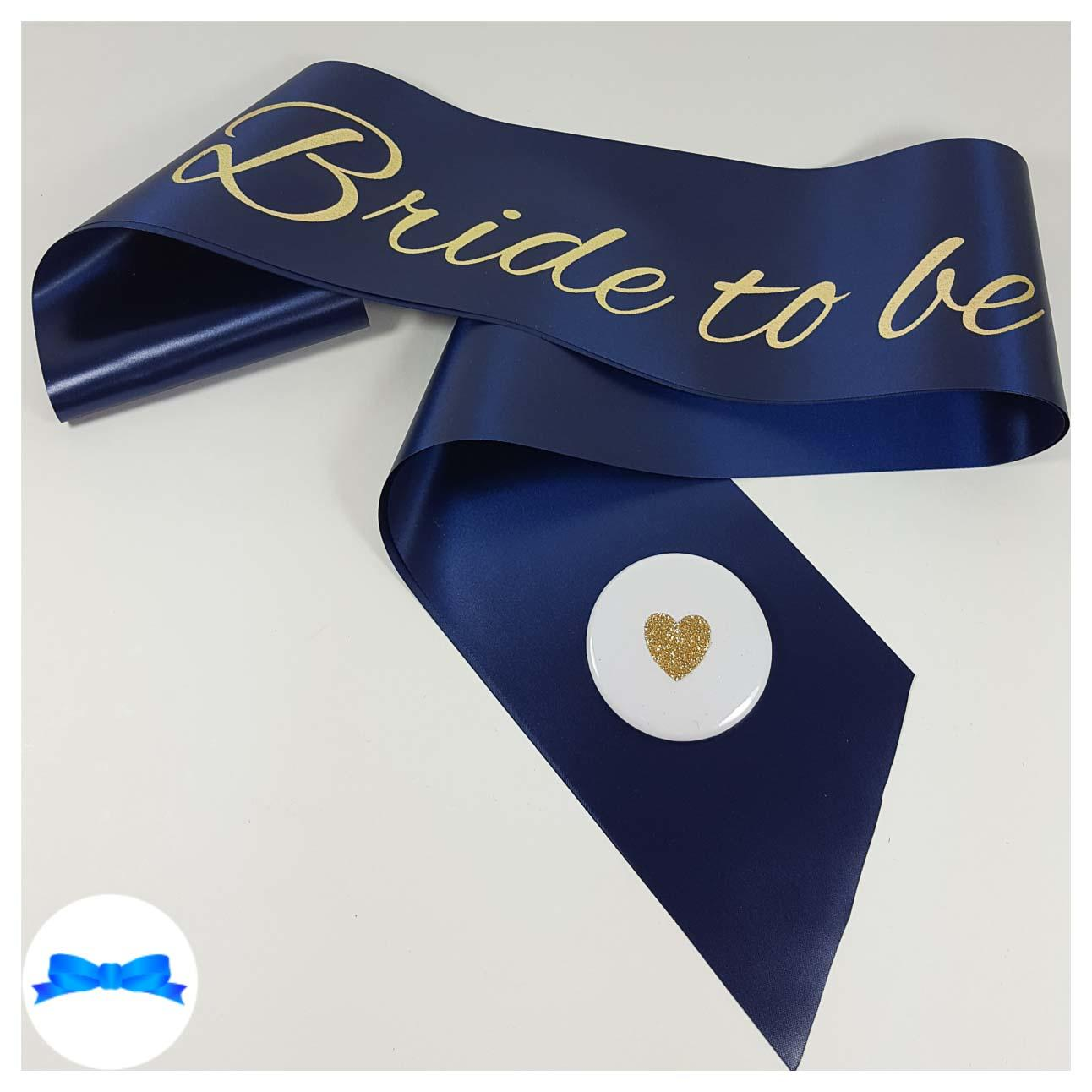 Navy bride to be sash gold print