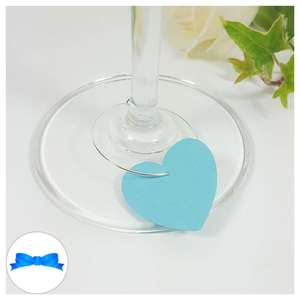 Turquoise heart shaped wine glass charm