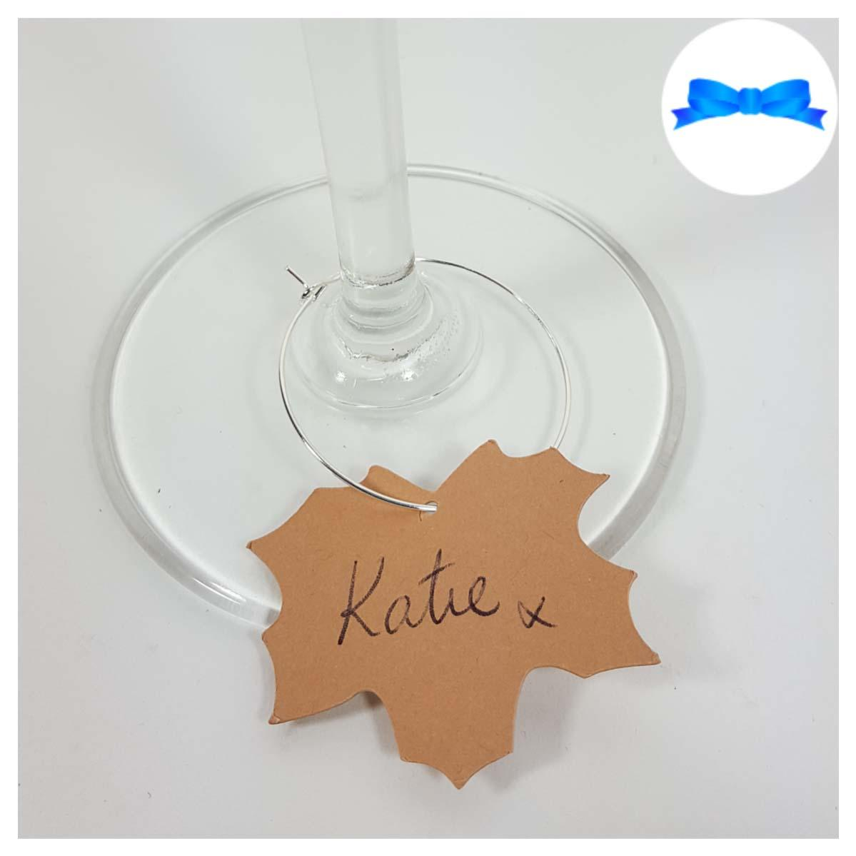 Card maple leaf wine glass charm