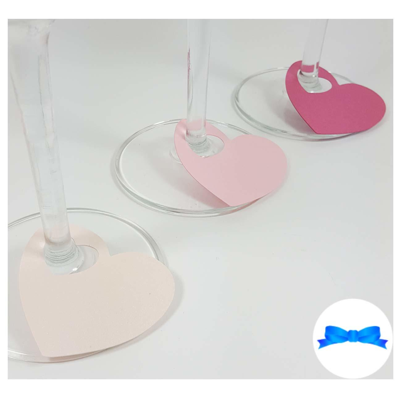 Pink heart wine glass label place card cards