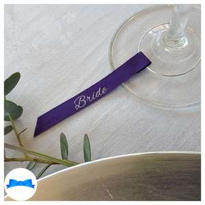 Regal purple and silver wine glass charm guest name ribbon