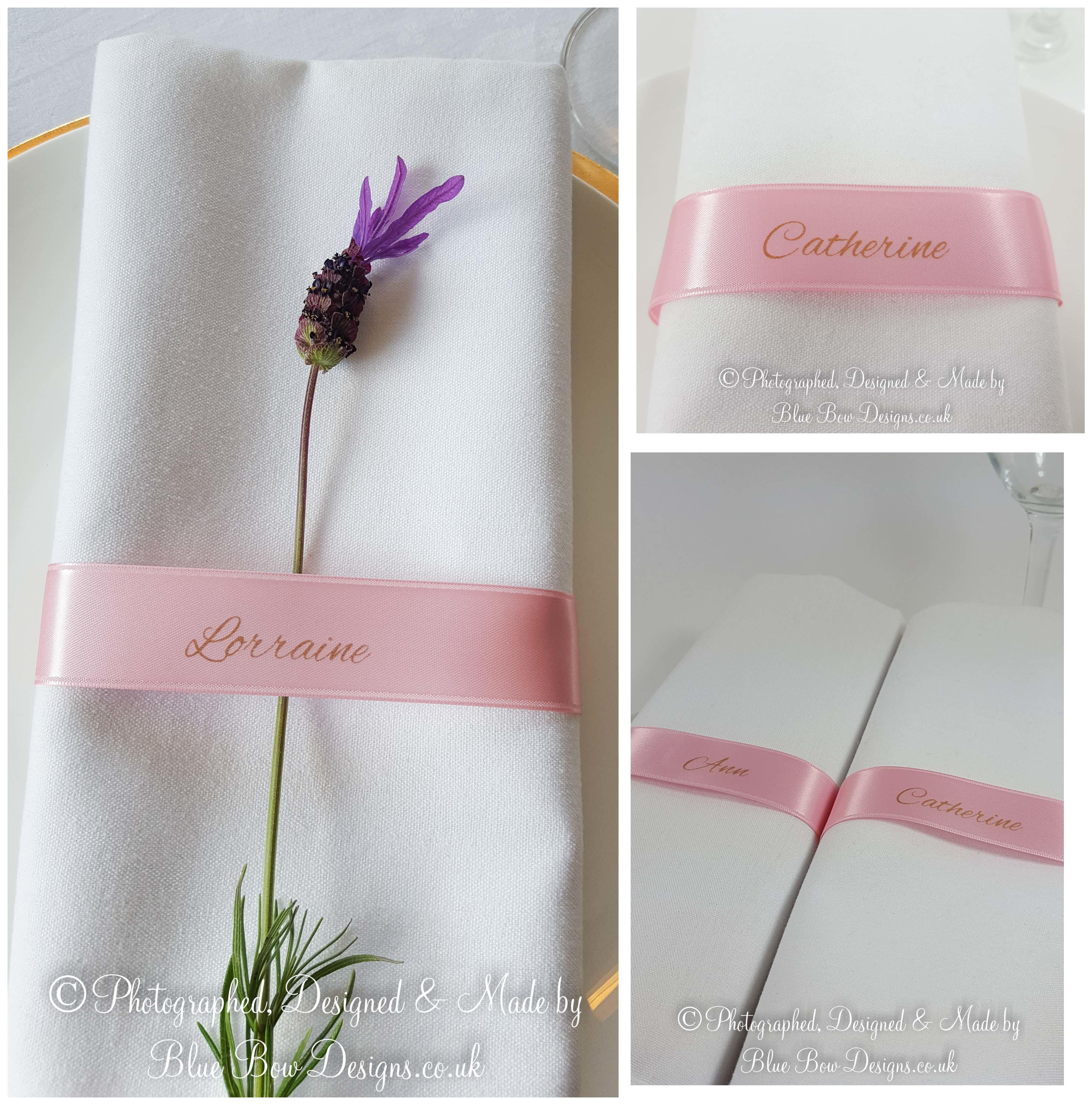 Baby pink guest name napkin ribbons
