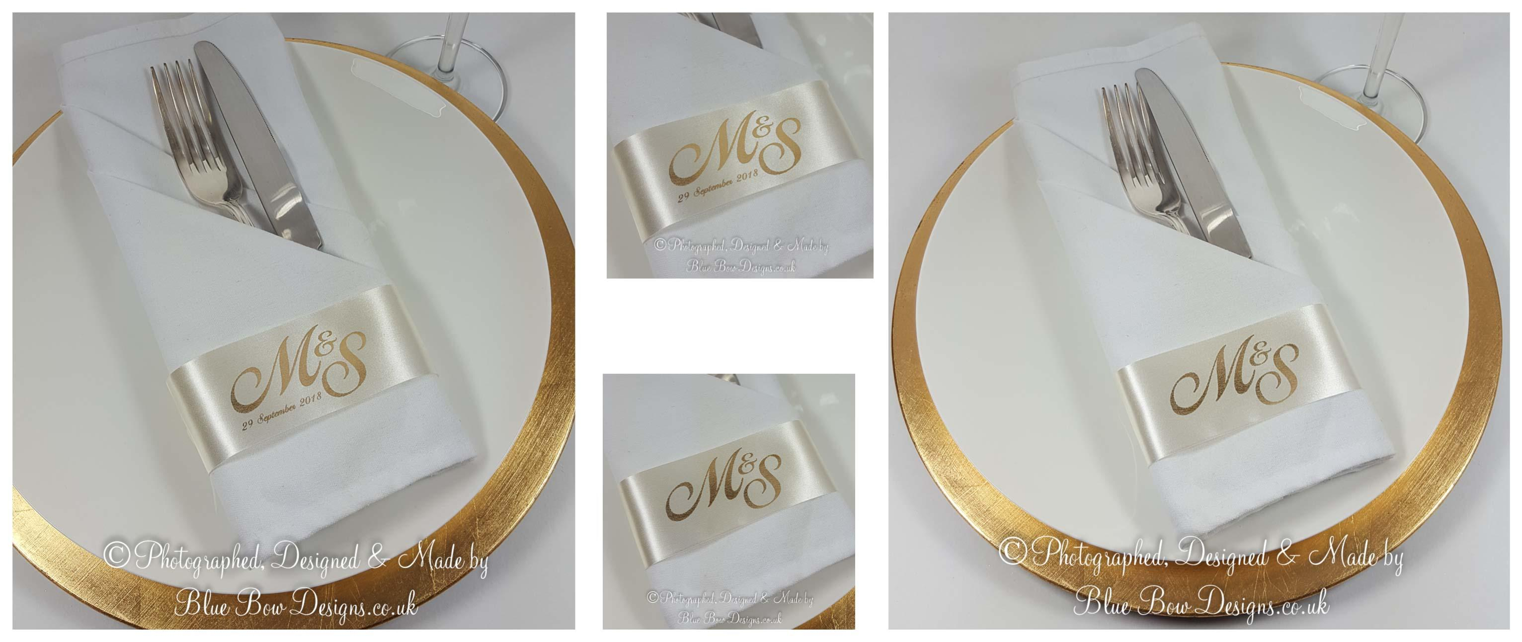 Personalised Ivory and Gold Monogrammed Napkin Ring ribbons
