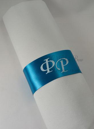 Aqua and Silver Monogrammed Napkin Ring ribbon