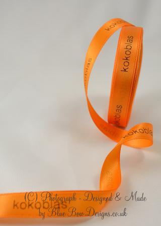 Orange 25 mm personalised printed ribbon