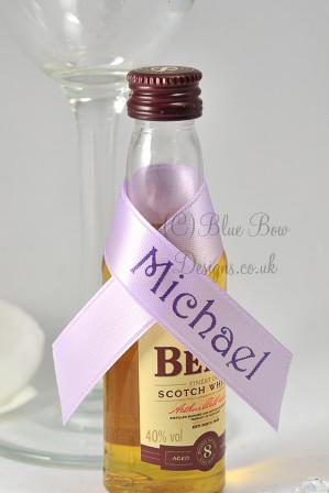 Guest names for wedding favour mini spirit bottle favours