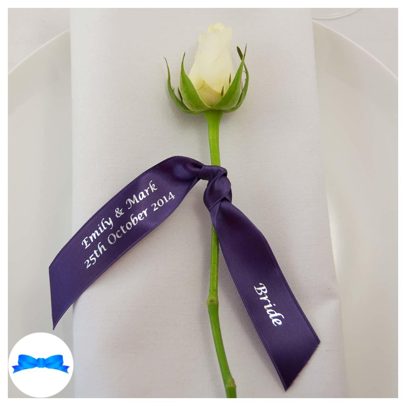 Printed ribbon for Place setting. Regal purple  ribbon and silver print. Napkin decoration