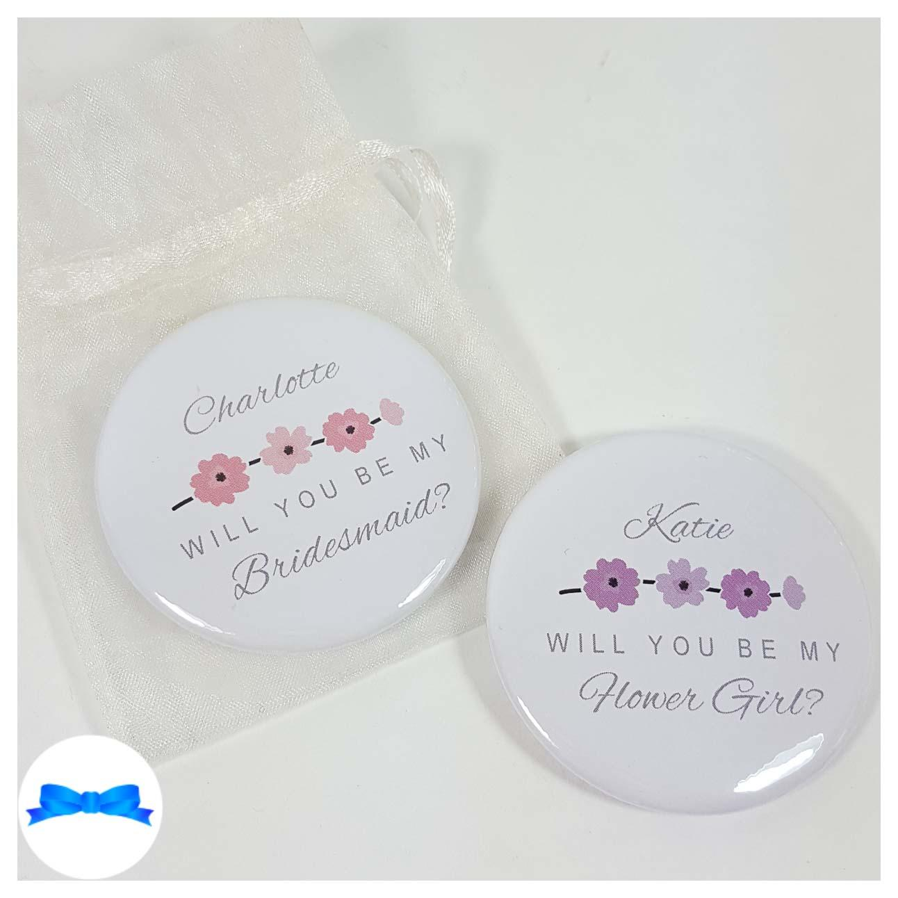 Will you be my Bridesmaid pocket mirror. Flower girl