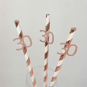 Rose gold Birthday number straws