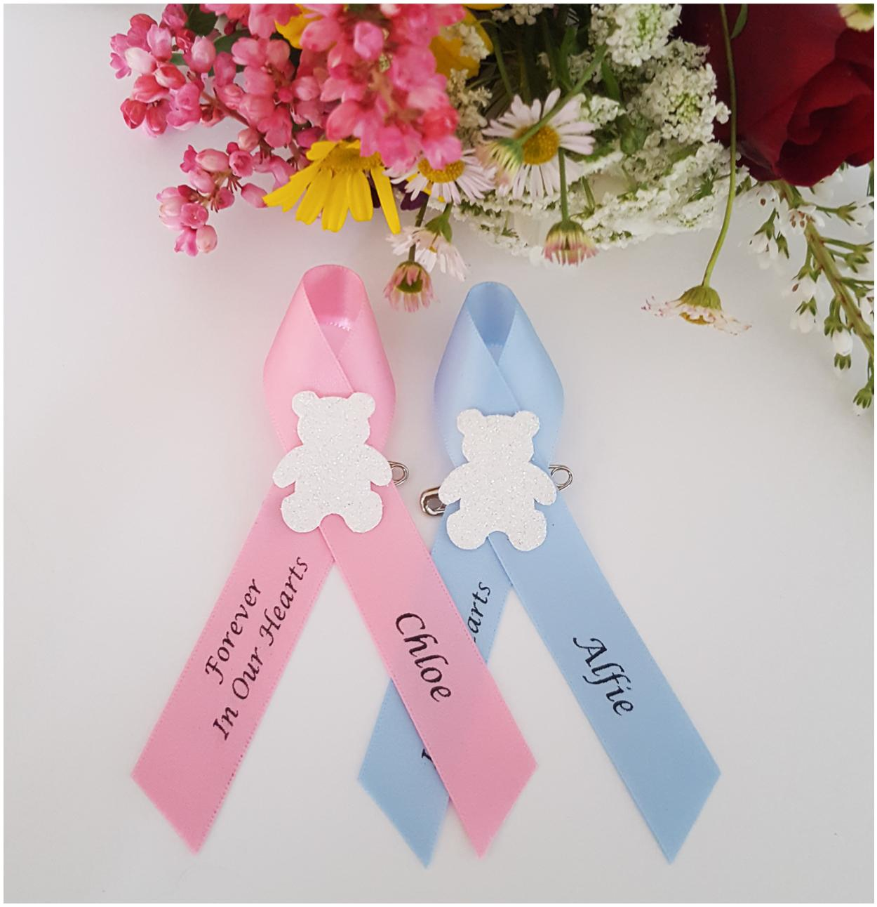 Baby Blue memorial funeral ribbons with teddy