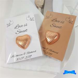 Love is sweet personalised wedding favour chocolate hearts