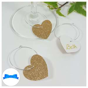 Gold glitter wine glass charm to write names on