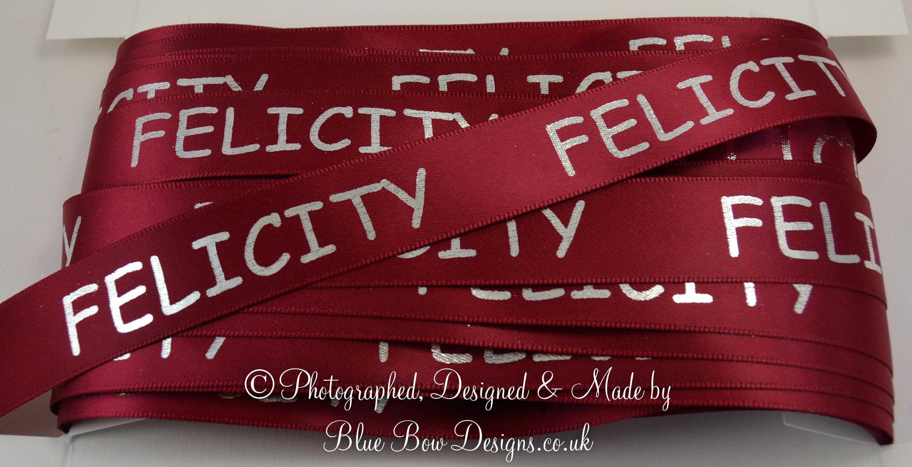 Burgundy 25 mm personalised ribbon