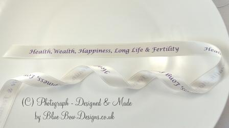 White personalised ribbon