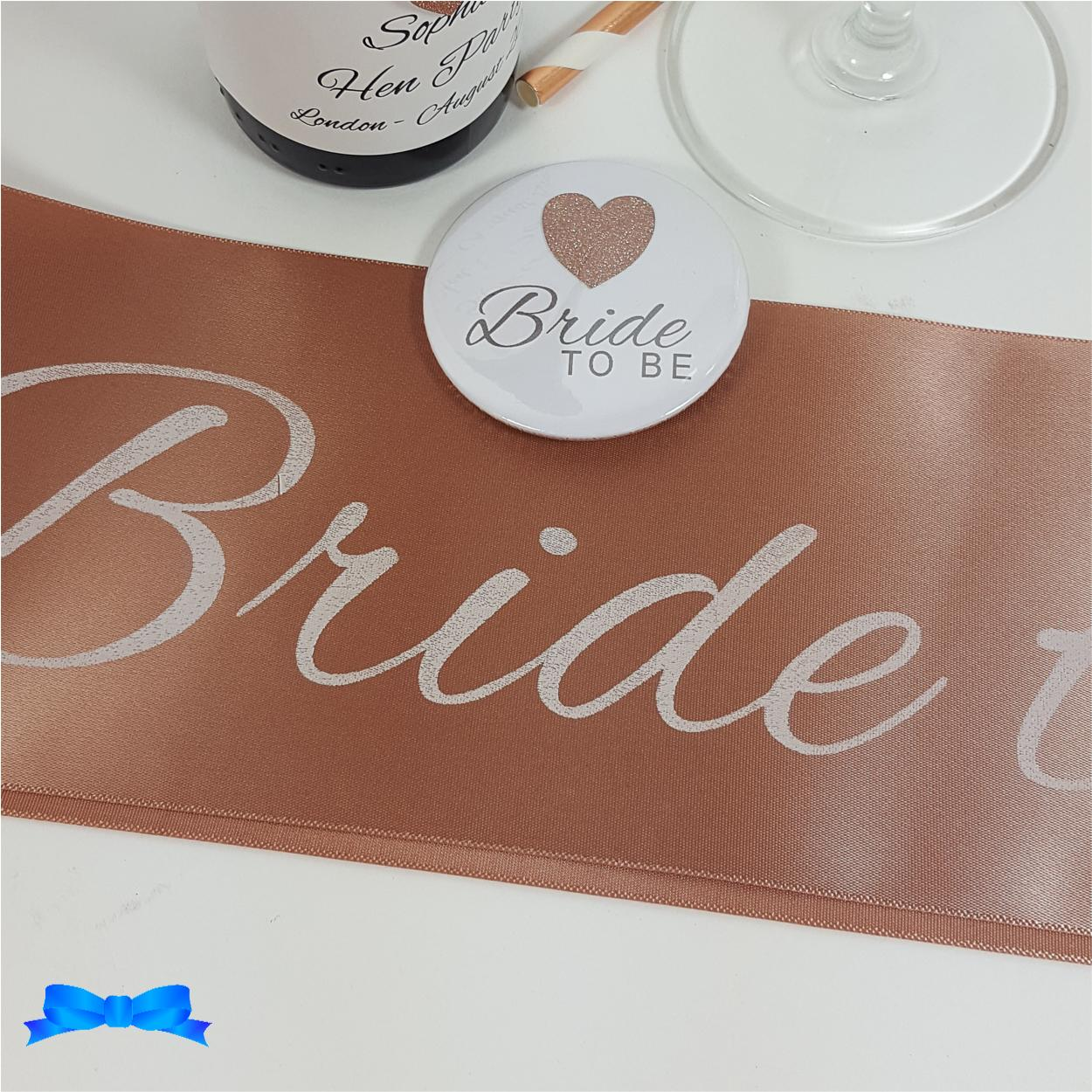 Rose gold Bride to be sash with white text