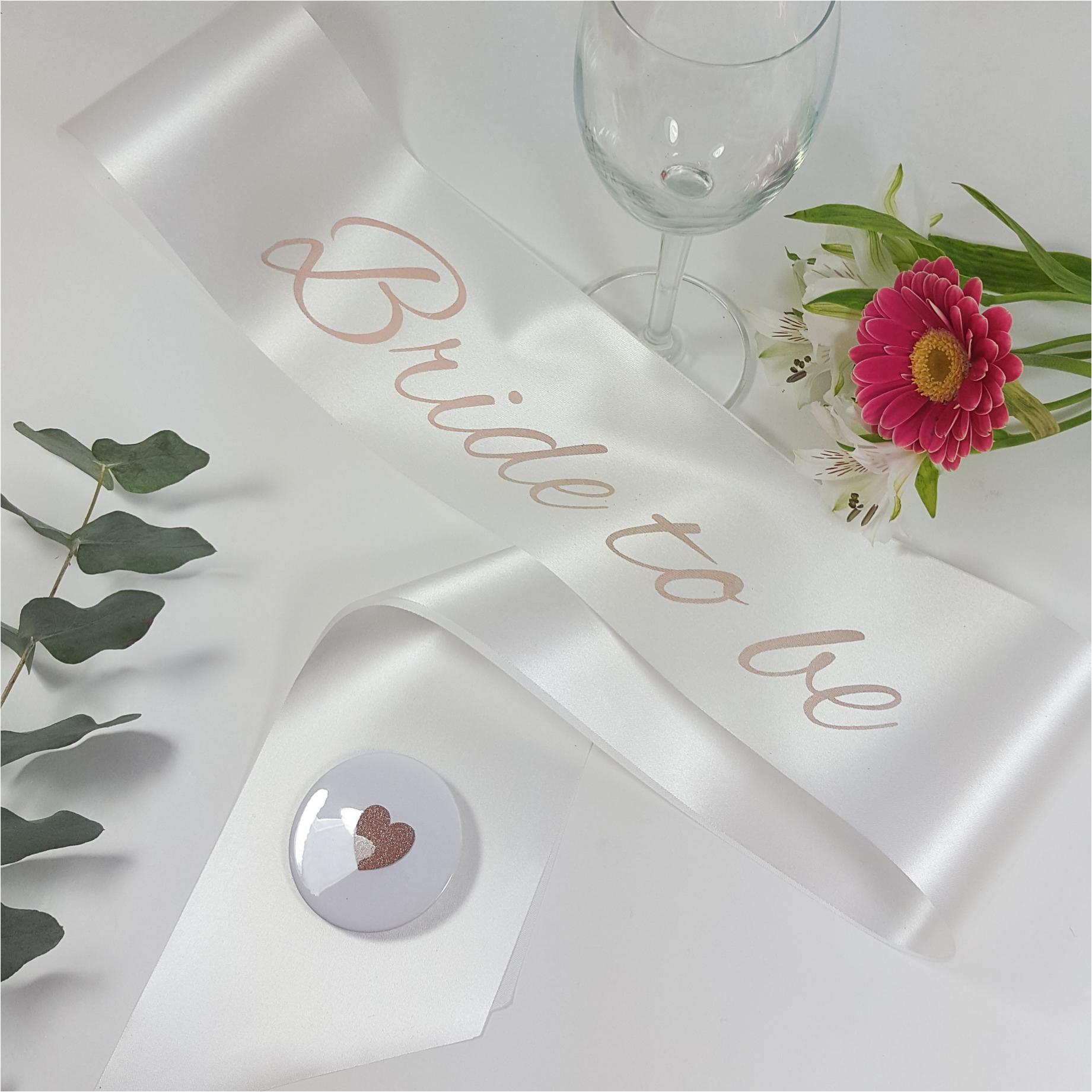 White and rose gold printed sash