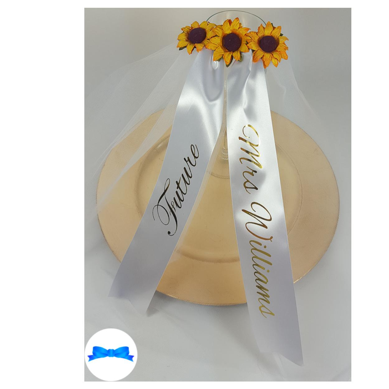 Personalised Sunflower hen party veil