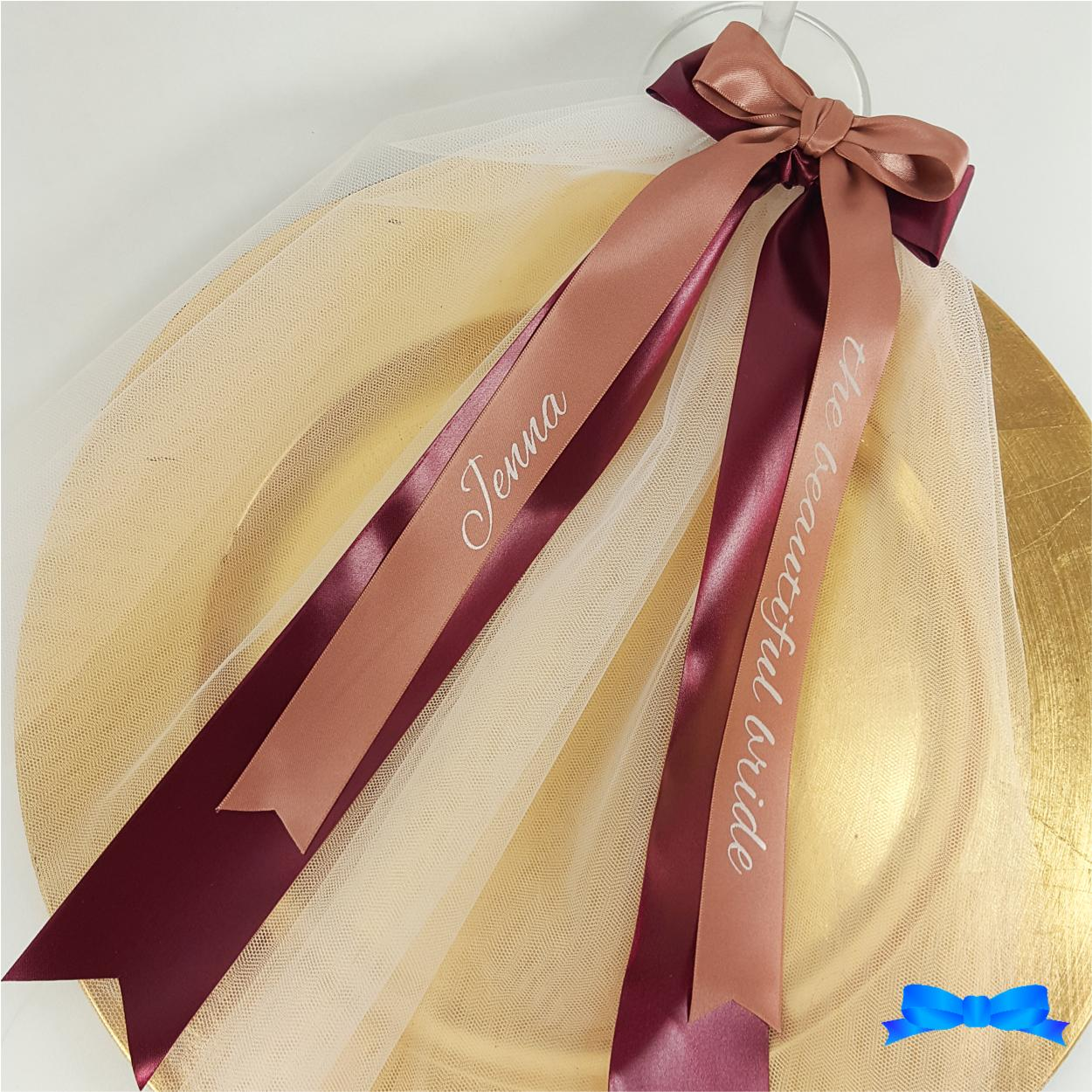 Hen party veil rose gold 25mm ribbon and 45 mm burgundy ribbon