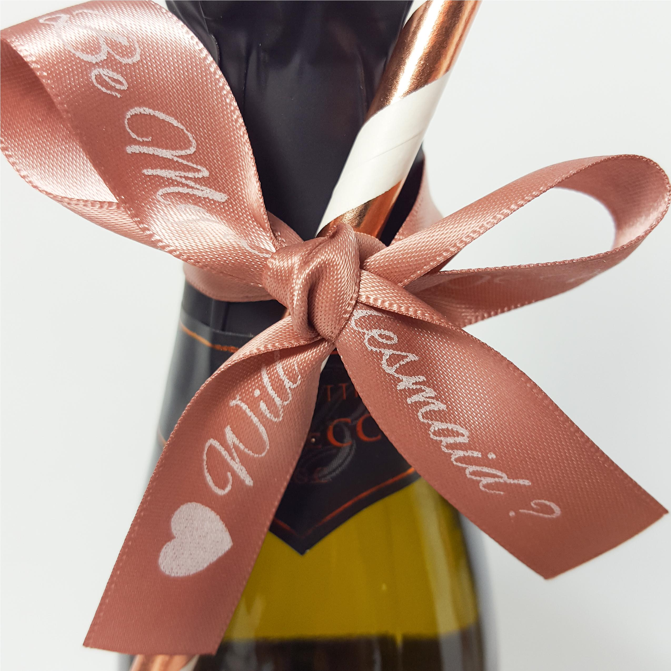 Personalised ribbon bow on mini prosecco bottle
